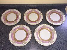 "Set of 5 Black Knight Plates - 11"" Cabinet Dinner Gold Green Purple Bavaria Lot"