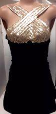 Herve Leger Dress Blk With Gold Sequins Xxs