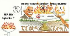 (43282) CLEARANCE GB Jersey FDC Olympic Games Baron de Coubertin Minisheet 1996