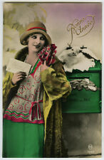 1920s Vintage FASHION FRENCH LADY Young Deco Flapper Beauty photo postcard