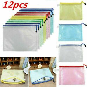12pcs A4 Plastic Zip File Bags Storage Document Folder Protective Wallet Pocket