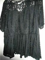 BNWT PLUS SIZE 24 SO FABULOUS  BLACK LACY PEPLUM TOP FULLY LINED