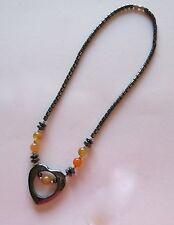 Fashion Necklace -Hematite- heart pendant -light orange beads-gray shade