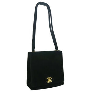 CHANEL CC Logos Hand Bag Black Suede 5202060 01843