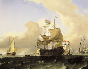 """handpainted oil painting """"a frigate and other vessels on a rough sea """"N7903"""