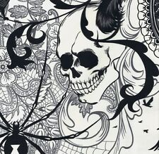 Alexander Henry Gothic After Dark Spider Skull Collage on Ivory Fabric - ½ METRE