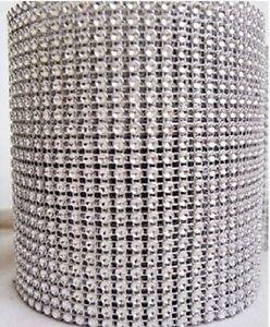 """4.75""""x10 Yards Silver DIAMOND WRAP ROLL SPARKLE RHINESTONE MESH Crystal Ribbon"""