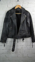 BNWT Designer Just Female Brunse Leather Biker Jacket Grey sz XS/8 uk RRP £318