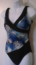 Women's CATALINA Cross Front Swim Suit Size S 4-6 Black/Blue Lined