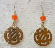 Antique Chinese Fine Carved Jade Carnelian Earrings