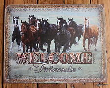 Tin Sign Welcome Friends Running Horses Front Door Stable Barn Girls Room