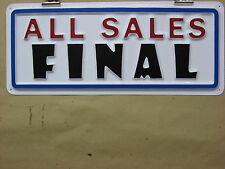 ALL SALES FINAL 3-D Embossed Plastic Sign 5x13 Hi Visibility, Store Shop Sale