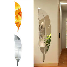 3D DIY Removable Feather Mirror Decal Vinyl Art Stickers Wall Home Room Decor