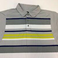 PGA Tour Golf Polo Shirt Mens 2XL XXL Short Sleeve Gray Navy White Green Striped