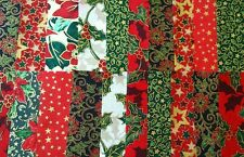 20 x Christmas Fabric Squares ~ Red/Green/Gold Mix~ 8-10cm Applique Patchwork #2
