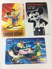 Tokyo Disneyland Vintage Phone Cards Used Lot Of 3 - (7229)