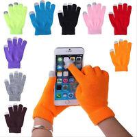 Unisex Warm Winter Knit Touch Screen Gloves Full Finger For Smart Phone Tablet