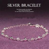 UK Women 925 Sterling Silver Crystal Chain Bangle Cuff Charm Bracelet Jewelry