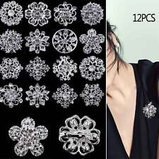 A Pack Of 12 Beautiful Silver Diamante Bride Flower Brooch Wedding Broach