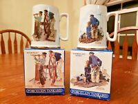 2 Vintage Norman Rockwell Seafarers Porcelain Tankards Long John Silver-Mugs NIB