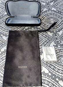 GUCCI Velvet Clamshell Hard Logo Sunglasses Glass Case Cloth Black New Small