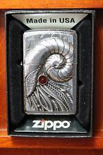 """Zippo  """"CYBER NAUTILUS"""" - EMBLEM - Chrom brushed  -  NEU & ovp - #1149"""