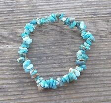 NATURAL TURQUOISE STONE GEMSTONE STRETCHY CHIP BRACELET