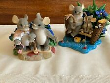 Christmas Tails Fitz and Floyd mouse figurines set of two