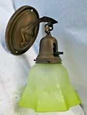 Vintage Early Mid Century Wall Light Fixture Green Glass Globe