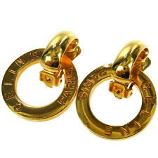 Authentic CELINE Logos Swing Earrings Clip-on Gold-tone Italy Accessories 08G090