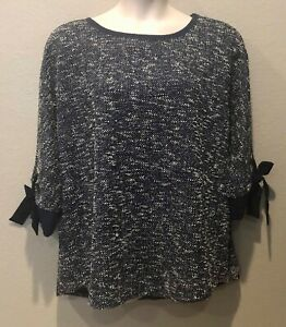 NWT Charter Club Women's Blue/White 3/4 Grommet Bow Sleeve Sweater Plus Size 2X