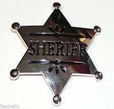 Chrome Sheriff US Lawman Star Badge Belt Buckle to attach to own belt Cowboy