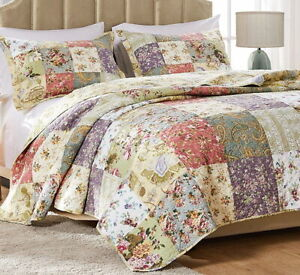 BLOOMING GARDEN Full Queen or King QUILT SET : COTTON VINTAGE FLORAL PAISLEY