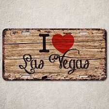 LP291 I Love Las Vegas Wood Vintage Auto Car License Plate Wedding Decor Sign