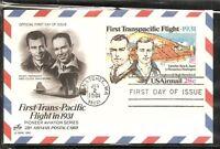 US SC # UXC19 First Transpacific Flight FDC. Artcraft Cachet