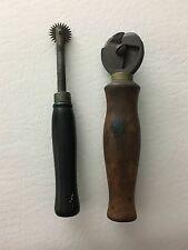 2 Vintage Leather Shoe Working Tools Pattern Marking Wheel & Welt Cutter