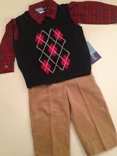 Good Lad Boy Outfit Sweater Vest Plaid Shirt Pants Size 18 Months Green Dressy