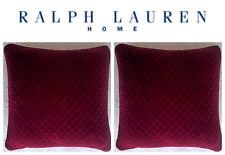 🆕Ralph Lauren 2 Maroon Velvet Throw Pillow Diamond Quilted Feather🎄CHRISTMAS