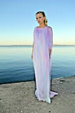 NEW Silk Kaftan Caftan white Pink blue purple resort Dress Summer ombre tie dyed