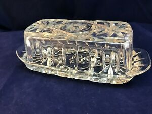 Vintage Anchor Hocking Clear Glass Prescut STAR OF DAVID Butter Dish