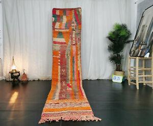 "Handmade Moroccan Boujaad Runner Rug 2'4""x10'9"" Berber Abstract Orange Wool Rug"