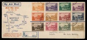 DR WHO 1947 NORFOLK ISLAND FDC PITCAIRN ISLANDER ANIV CACHET COMBO  f84287
