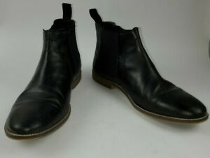 Ben Sherman Mens Gaston Black Ankle Slip- On Boots Size 10 Pre-Owned