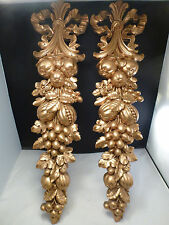 Vintage Sconces Wall Decor Medallion Swag Holder Gold Tone GILT  EXCELLENT COND.