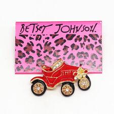 Betsey Johnson Vintage Retro Car Red Enamel Crystal Car Brooch Pin Gift