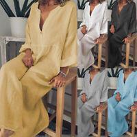 Women's Boho Long Maxi Dress Long Sleeve Summer Beach Long Casual Dresses