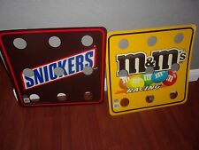 NASCAR RACING 2 SIDED M&M AND SNICKERS MAN CAVE SIGNS 25 X 24