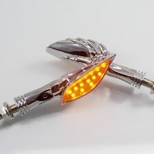 Skull Harley Amber LED Turn Signal Light Indicator Cruiser Chopper Bobber Custom