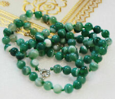 "Long 36"" 8mm Real Natural Green Striped Agate Gemstones Round Beads Necklace AAA"