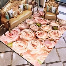 Room Mat Printing Carpet Rose Flower Rug Multicolor Wedding Antislip Living Room
